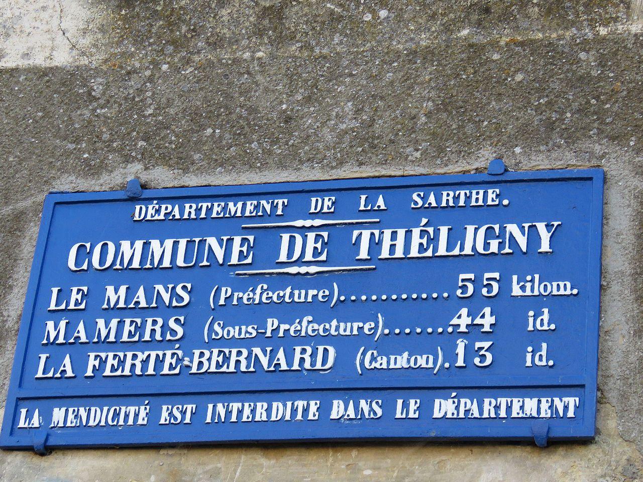 Théligny - Plaque de cocher - Le Mans - Mamers - La Ferté Bernard (Source Internet, Yodaspirine)