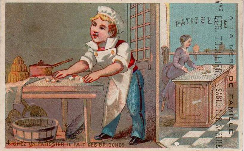 Affiches, enseignes, logos et pubs - Chromo - Chez un pâtissier il fait des brioches