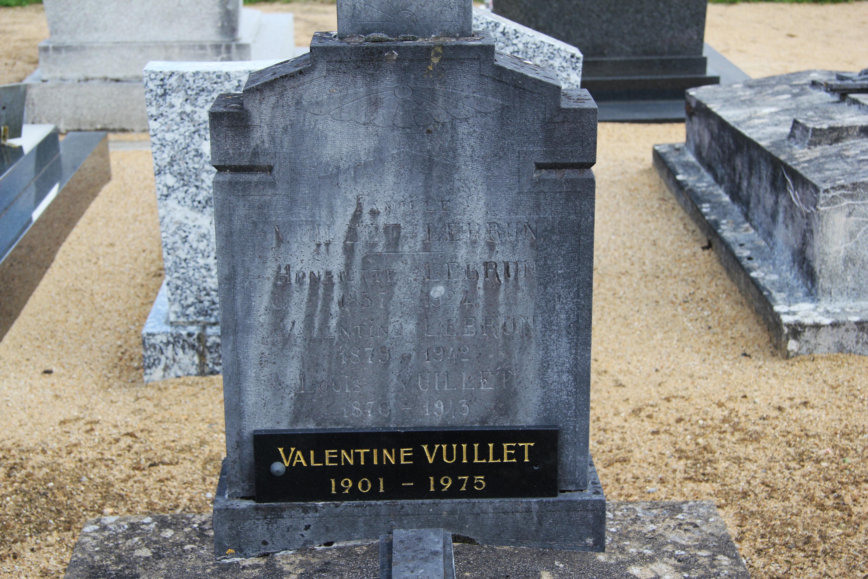 Auvers sous Montfaucon - Cimetière - Famille VUILLET-LEBRUN - LEBRUN Henriette - VUILLET Louis et LEBRUN Valentine - VUILLET Valentine 02 (Sylvie Leveau)
