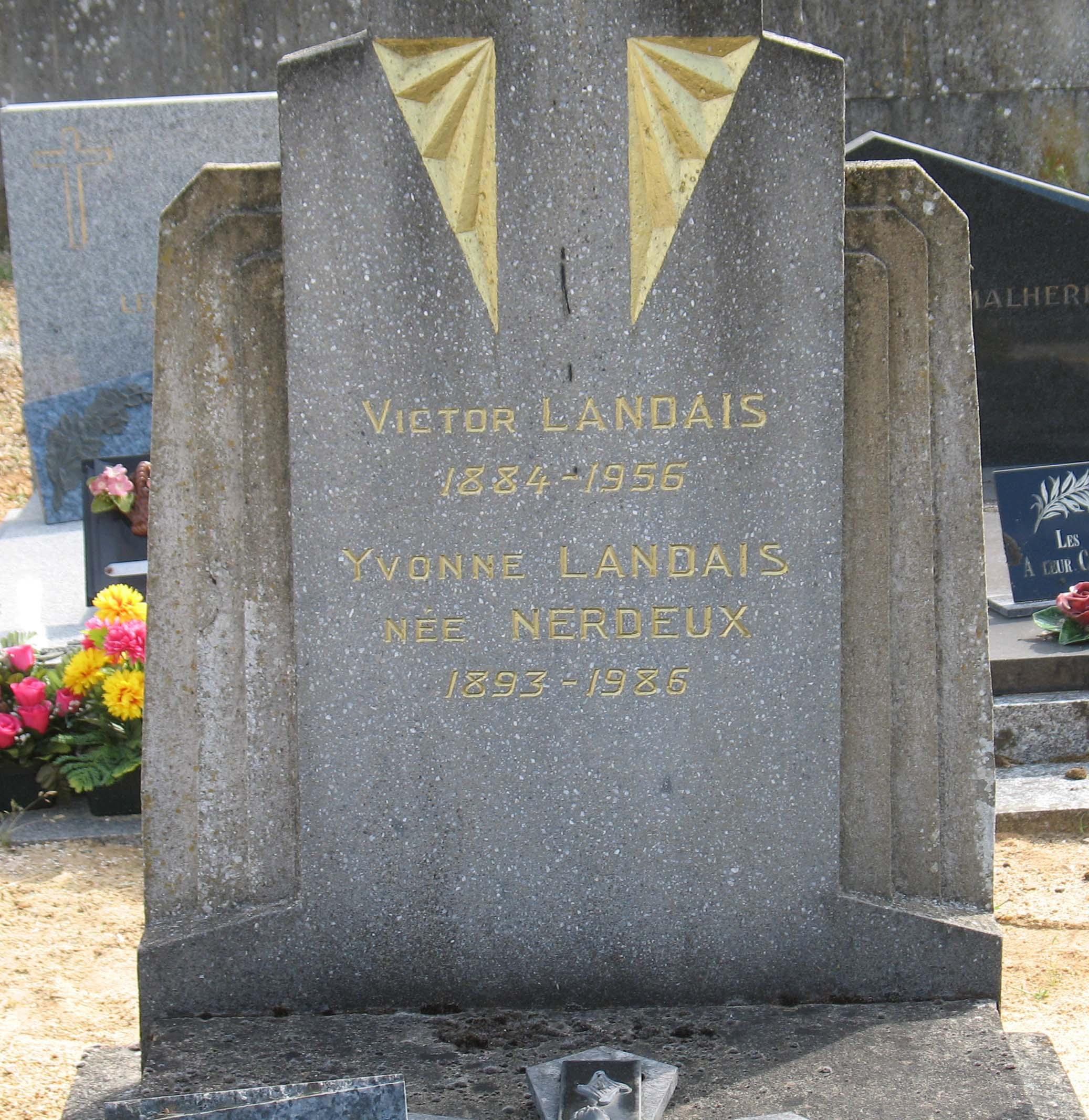 Chemiré en Charnie - Cimetière - LANDAIS Victor et NERDEUX Yvonne 02 (Sylvie Leveau)
