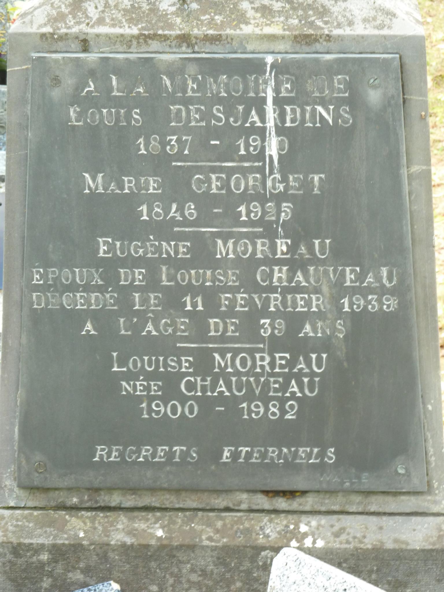 Clermont Créans - Cimetière - DESJARDINS Louis - GEORGET Marie - MOREAU Eugène et CHAUVEAU Louise 02 (Loïc Prémartin)