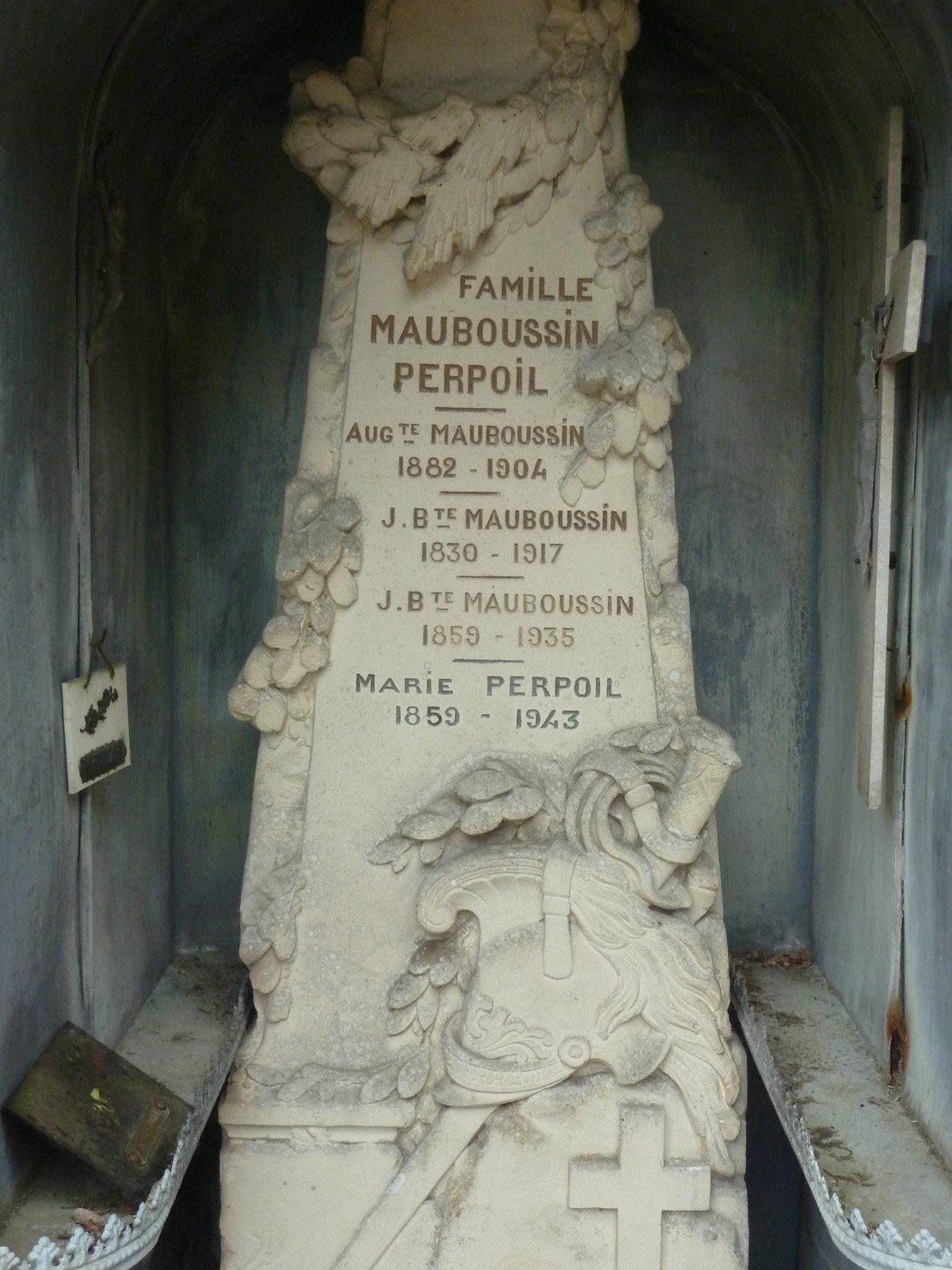 Clermont Créans - Cimetière - Famille MAUBOUSSIN-PERPOIL - MAUBOUSSIN Auguste - MAUBOUSSIN Jean-Baptiste - MAUBOUSSIN Jean-Baptiste et PERPOIL Marie (Loïc Prémartin)