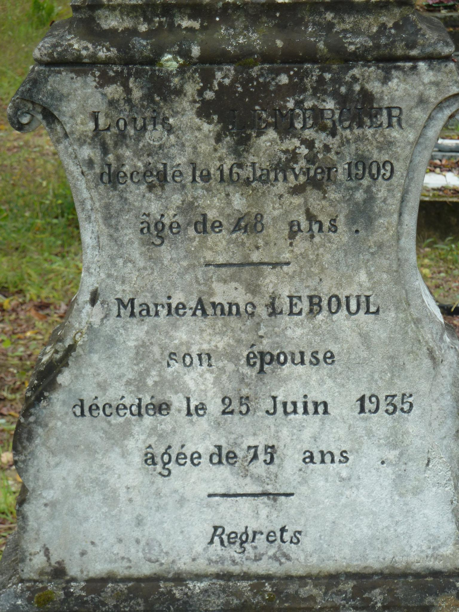 Clermont Créans - Cimetière - LEMERCIER Louis et LEBOUL Marie-Anne 02 (Loïc Prémartin)