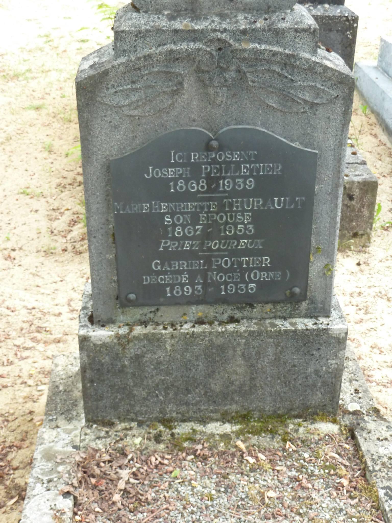 Clermont Créans - Cimetière - PELLETIER Joseph et THURAULT Marie-Henriette - POTTIER Gabriel (Loïc Prémartin)