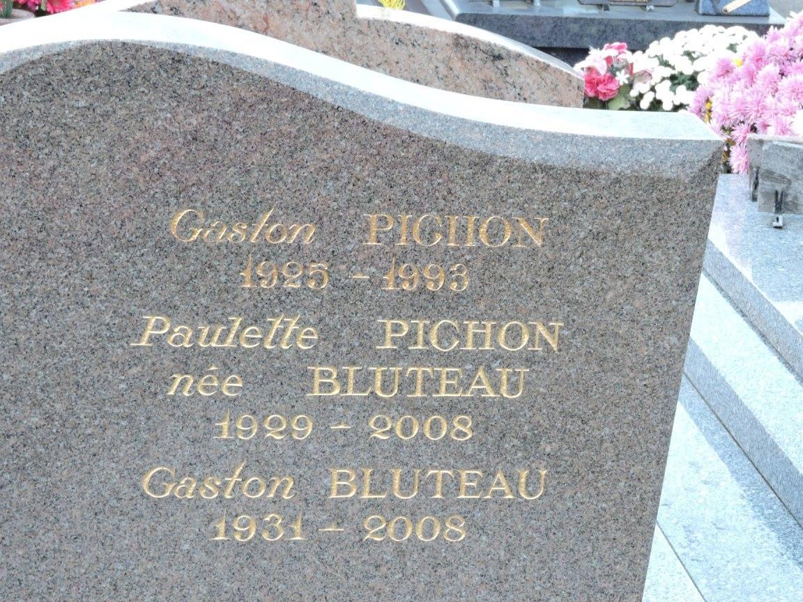 Le Grand Lucé - Cimetière - PICHON Gaston et BLUTEAU Paulette - BLUTEAU Gaston (Chantale Vieux)