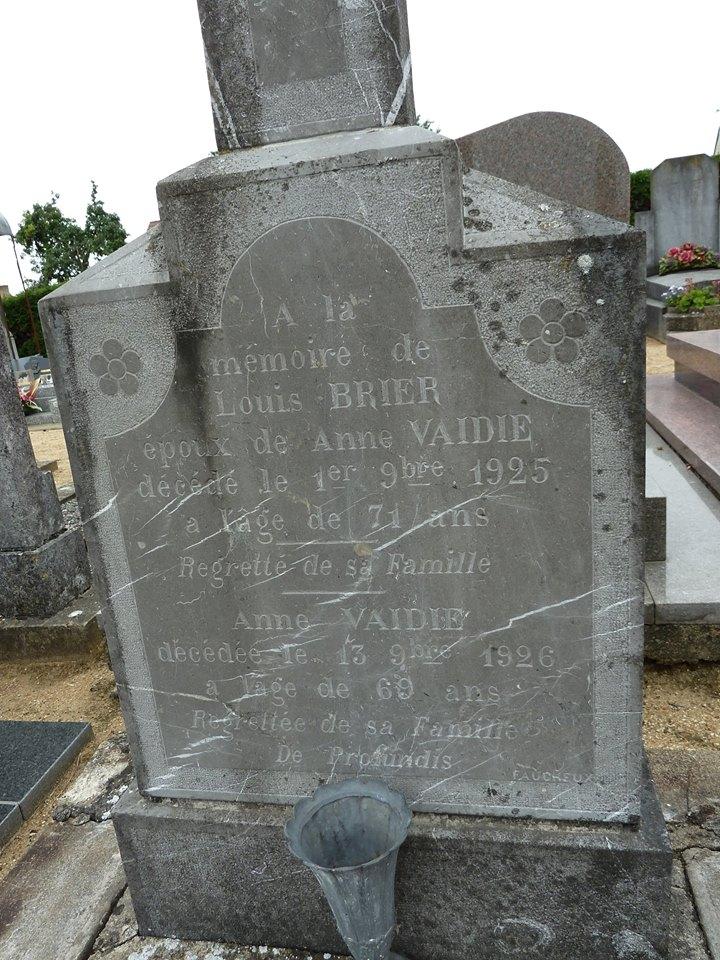 Mareil sur Loir - Cimetière - BRIER Louis et VAIDIE  Anne 02 (Loïc Prémartin)