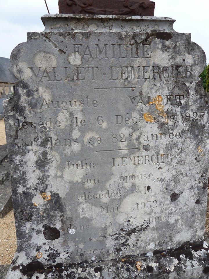 Mareil sur Loir - Cimetière - Famille VALLET-LEMERCIER - VALLET Auguste et LEMERCIER Julie 02 (Loïc Prémartin)