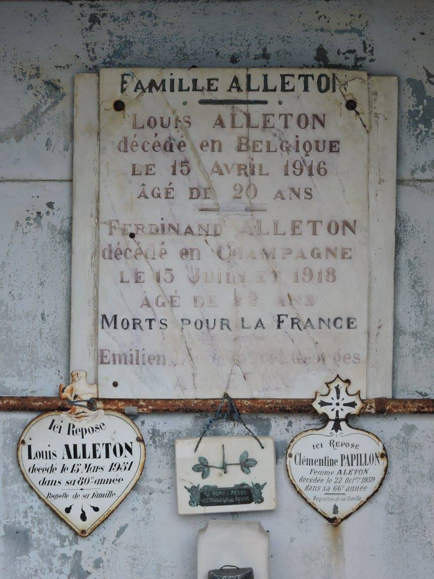 Villaines sous Lucé - Cimetière - Famille ALLETON - ALLETON Louis et PAPILLON Clémentine - ALLETON Louis - ALLETON Ferdinand - ALLETON Emilien (Chantale Vieux)