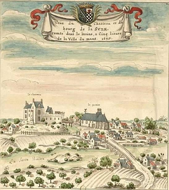 La Suze sur Sarthe - Le pont surveillé par le château, la chapelle du château, les moulins et le bourg en 1695 (Philippe Gondard)
