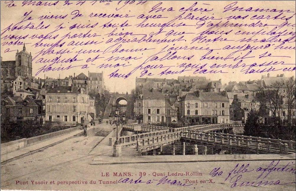 Le Mans - Quai Ledru Rollin - Pont Yssoir et perspective du Tunnel - Pont en X