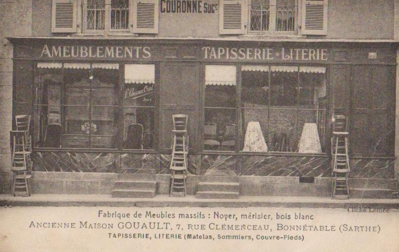 Bonnétable - Commerce - Fabrique de Meubles massifs - Noyer, merisier, bois blanc - Ancienne Maison GOUAULT - 7 rue Clémenceau - Tapisserie, Literie - Matelas, sommiers, couvre pieds