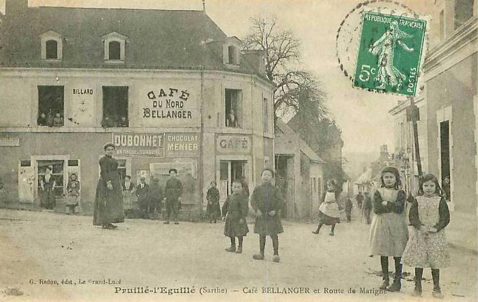 Pruillé l'Eguillé - Commerce - Café BELLANGER et Route de Marigné