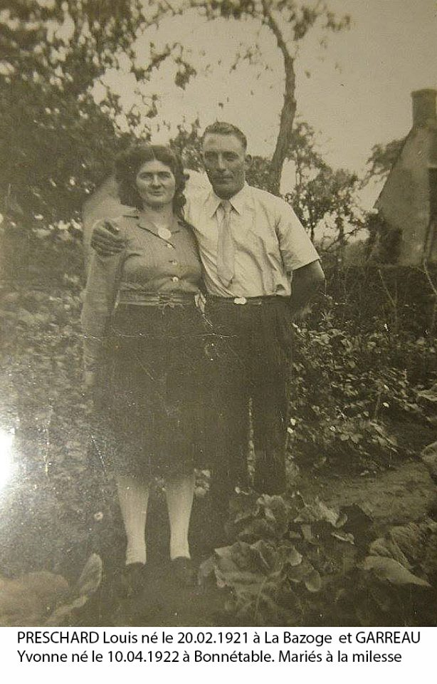 Bonnétable - Couples et familles - PESCHARD Louis et GARREAU Yvonne - Mes grands parents - 1922 (Jérémy Peschard)
