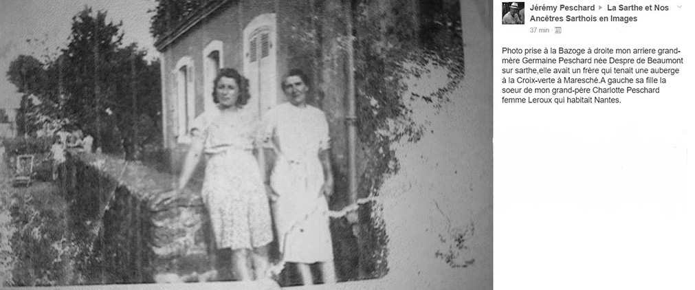 La Bazoge - Couples et familles - PESCHARD Charlotte à gauche - DESPRE Germaine épouse PESCHARD Charles à droite - Ma grande tante et mon arrière grand mère (Jérémy Peschard)