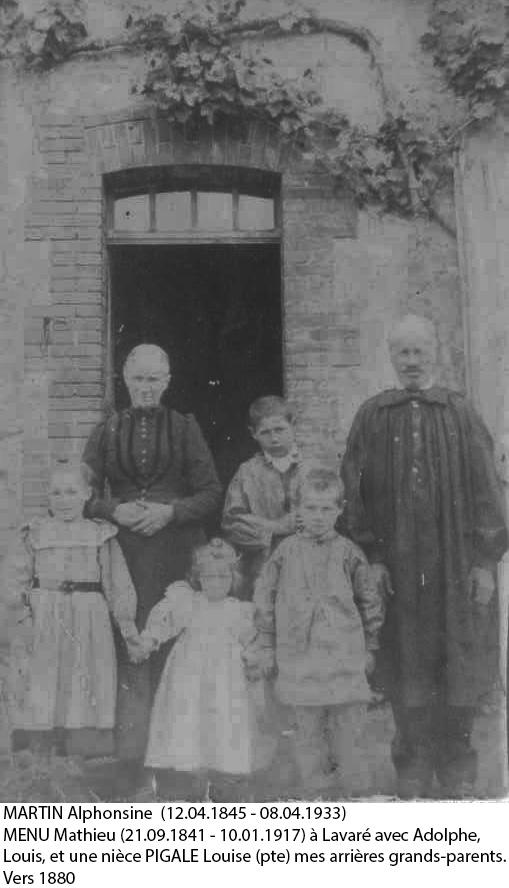 Lavaré - Couples et familles - MENU Mathieu et MARTIN Alphonsine - Vers 1880 (Christophe Menu dit Tahiti)