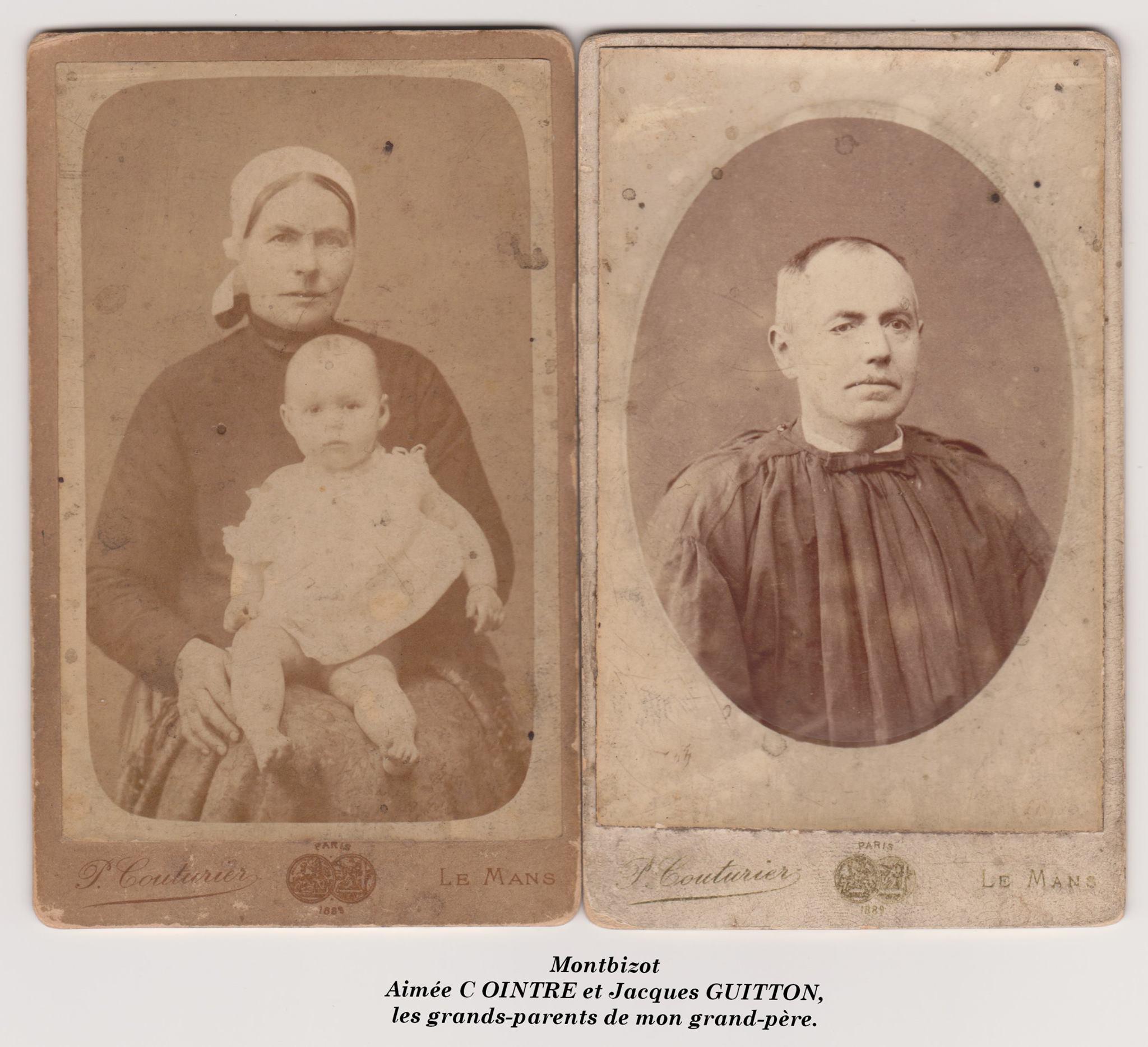 Montbizot - Couples et familles - COINTRE Aimée et GUITTON Jacques - Les grands parents de mon grand père (Didier Cantin)