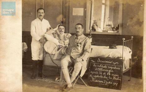 Mamers - Militaires - Guerre 1914-1918 - Souvenir de soldats rapatriés d'Allemagne - 2 Juillet 1917 (Sylvie Leveau)