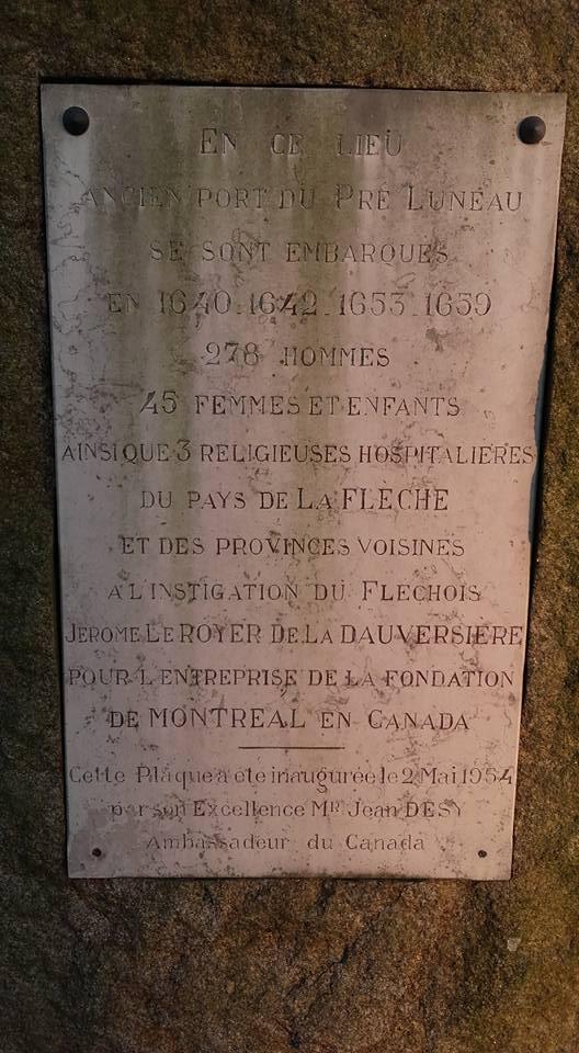 La Flèche - Monument commémoratif - Plaque commémorative de l'ancien port du Pré Luneau - Vue 02 (Michel Mimitontonparrain)