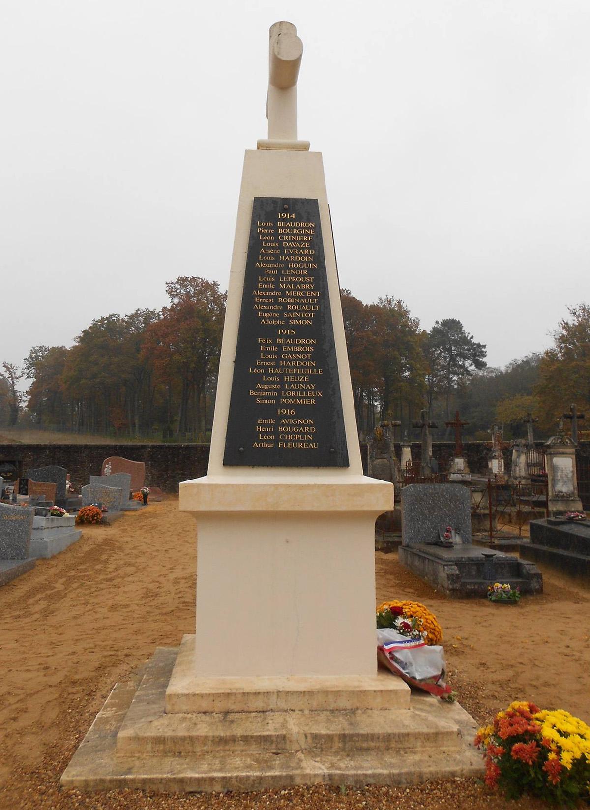 Lombron - Monument commémoratif - Aux enfants de Lombron morts pour la patrie - Années 1914-15-16 - Vue 01 (Romain Christopher Guillaume Lépine)