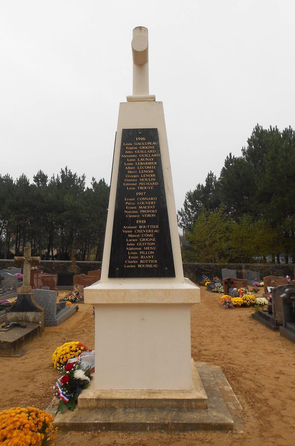 Lombron - Monument commémoratif - Aux enfants de Lombron morts pour la patrie - Années 1916-17-18 - Vue 01 (Romain Christopher Guillaume Lépine)