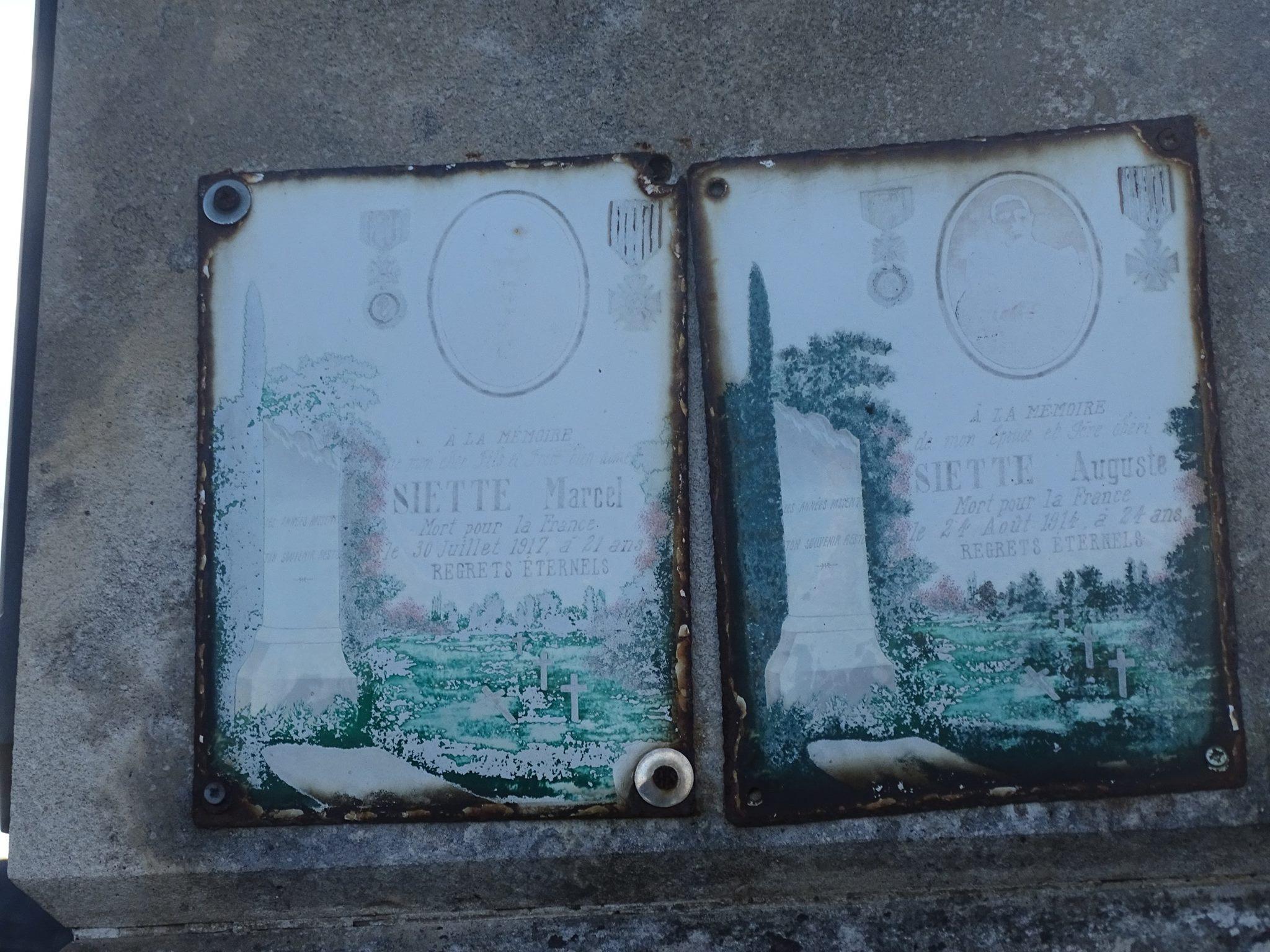 Pirmil - Monument commémoratif - Plaques émaillées - SIETTE Marcel - SIETTE Auguste (Marie-Yvonne Mersanne)