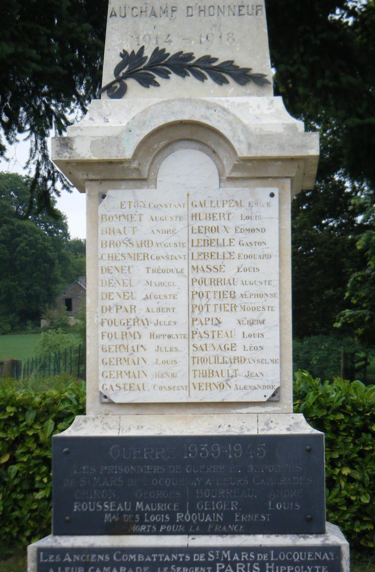 Saint Mars de Locquenay - Monument commémoratif - A ses enfants morts au champ d'hinneur 1914-1918 et 1939-1945 - Vue 02
