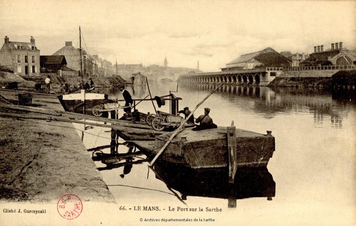 Le Mans - Le Port sur la Sarthe - Cliché Garczynski, début du XXe siècle (Archives départementales de la Sarthe, 2 Fi 3071)