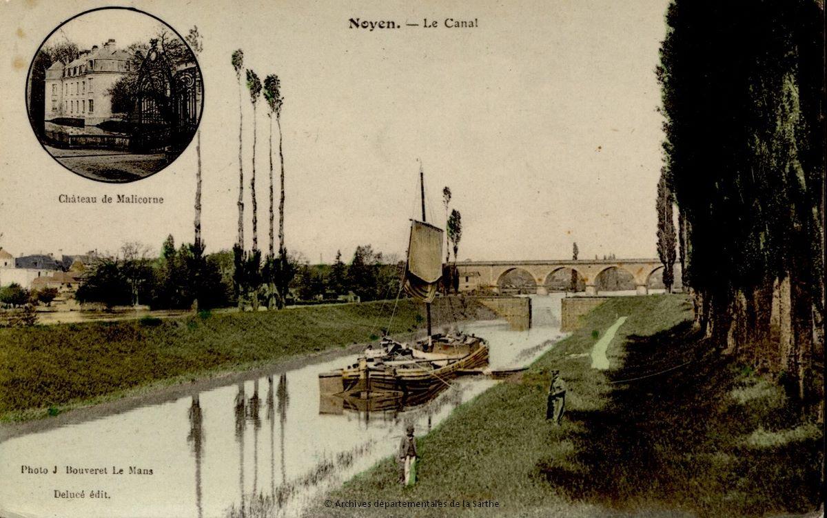 Noyen sur Sarthe - Le Canal - Cliché Bouveret, début du XXe siècle (Archives départementales de la Sarthe, 2 Fi 4242)