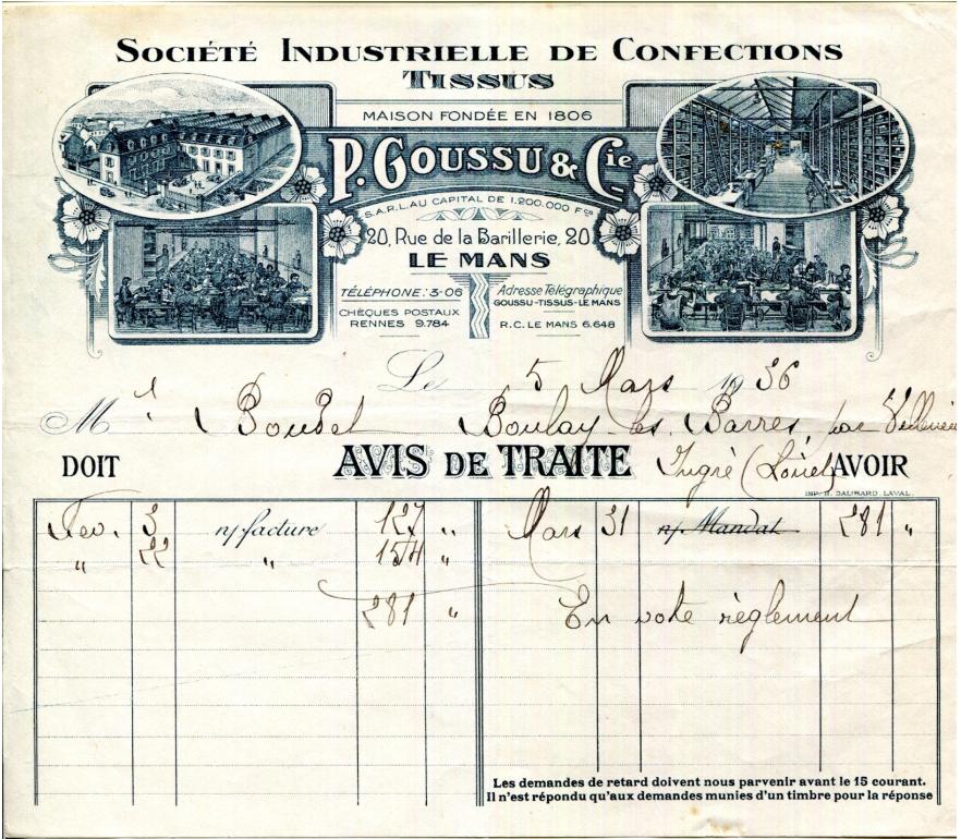 Le Mans - Vieux papiers - Société Industrielle de Confections - Tissus - P. Goussu & Cie - Avis de traite