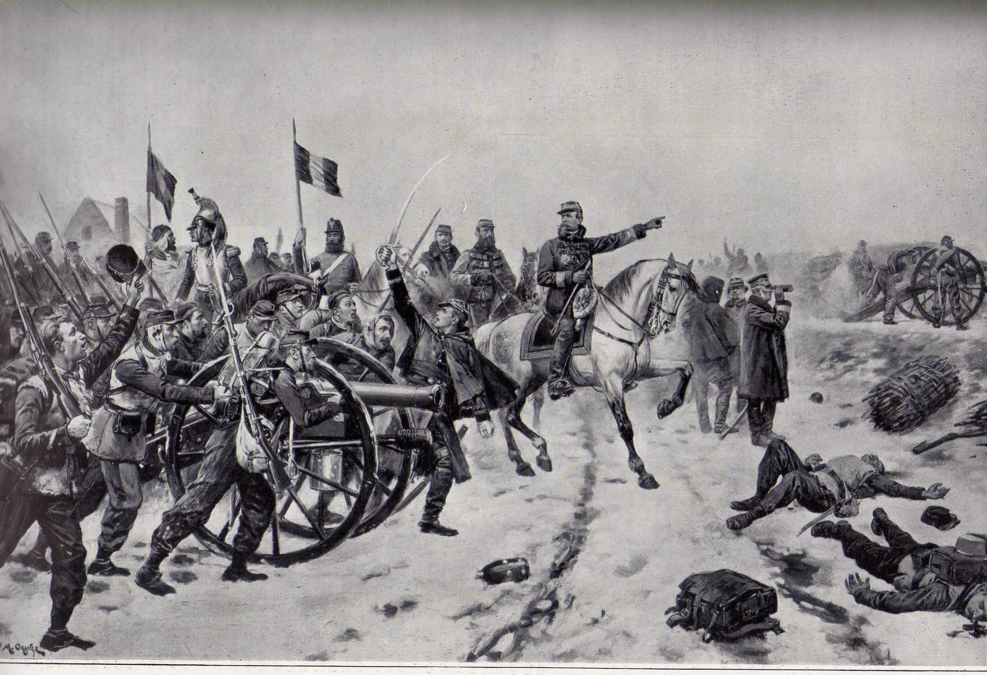 Champagné - Militaires - Autres guerres - Le général Chanzy à la bataille du Mans - Tableau de Maurice Orange - Janvier 1871 (Source Internet, Wikimedia Commons)