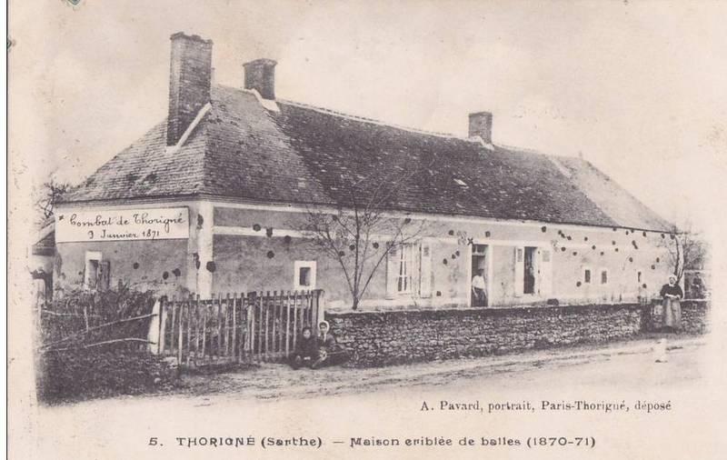 Thorigné - Militaires - Autres guerres - Maison criblée de Balles - 1870-1871 - Vue 01 (Source Internet, www.perche-gouet.net)