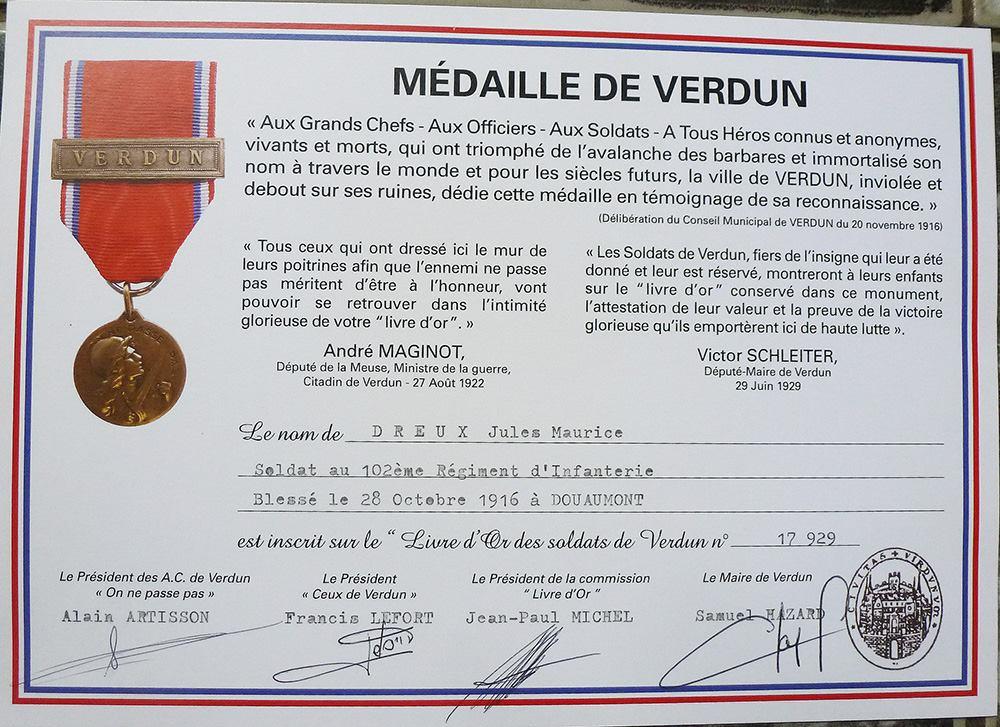 Militaires - Décorations et distinctions - DREUX Jules, Maurice - Médaille de Verdun - Mon grand oncle (Sylvie Leveau)
