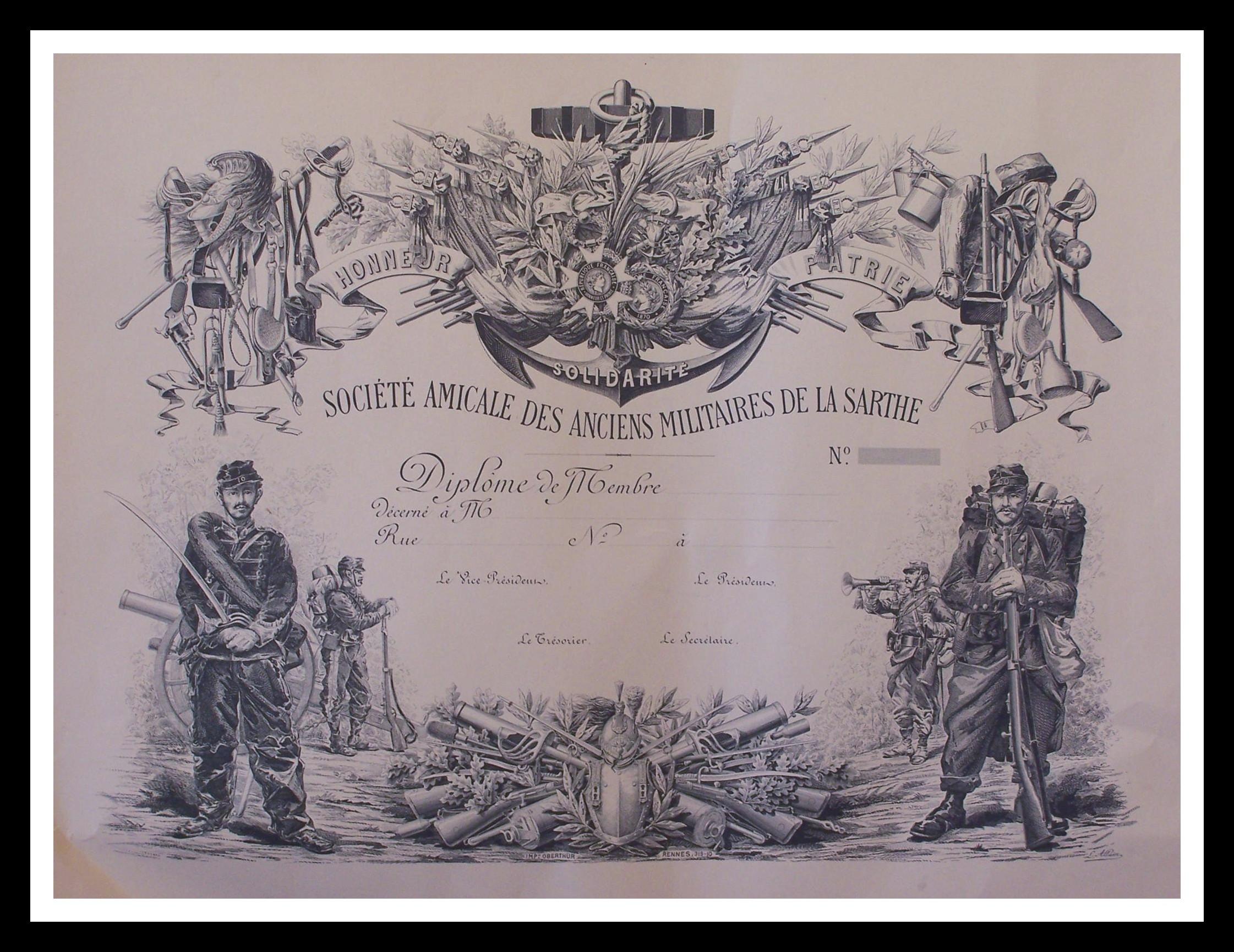 Militaires - Décorations et distinctions - Diplôme de la Société Amicale des Anciens Militaires de la Sarthe (Christophe Menu dit Tahiti)